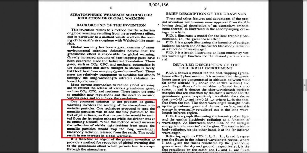Welsbach patent - for spraying metallic particles from aircraft