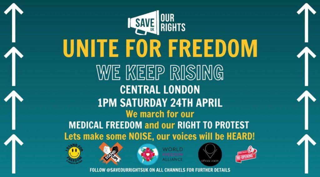 Unite For Freedom – April 24th – Central London – 1pm