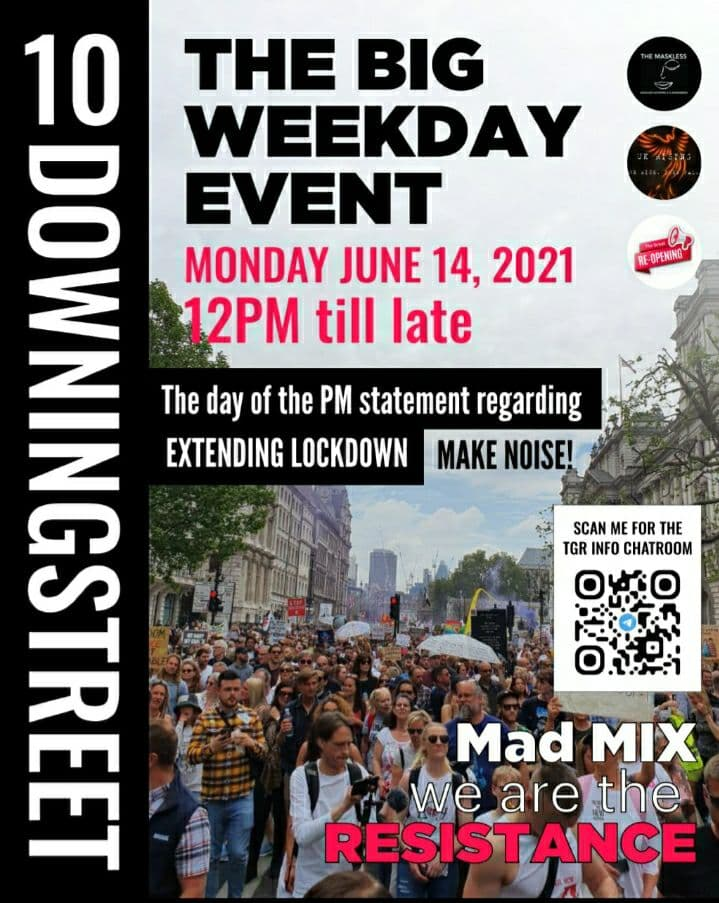 The Big Weekday Event - Downing Street, Lonfon - Monday, 14th June 2021 - 12pm till late